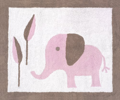 Pink And Taupe Mod Elephant Accent Floor Rug By Sweet Jojo