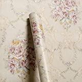 Wollzo Golden Floral Bed Room self Adhesive Wallpaper (45 x 500 cm)