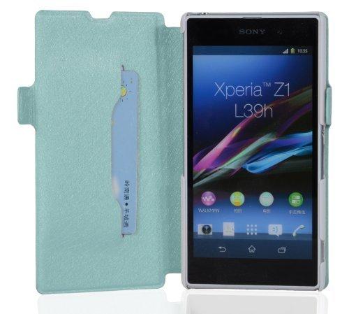 Cadorabo - Funda Book Style en Diseño FINO para Sony Xperia Z1 (L39h) - Etui Case Cover Carcasa Caja Protección con Tarjetero y Función de Soporte en LILA AZUL
