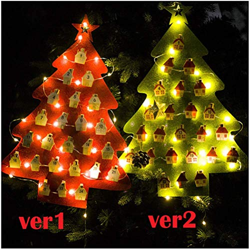 LQT Ltd Christmas Tree Hanging Ornament Countdown to Christmas Advent Calendar LED Christmas Tree Calendar for Christmas Home Decoration