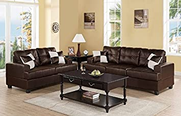 poundex Upholstered in Espresso Bonded Leather Sofa and Loveseat Set, Brown