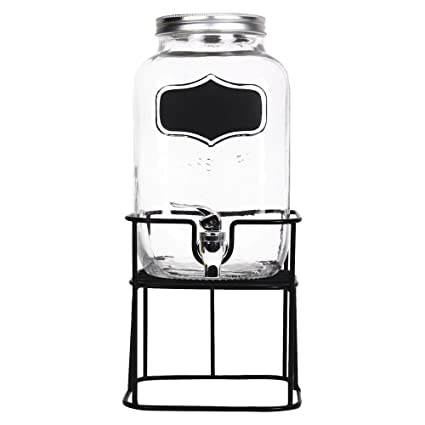 Helio Ferretti Mason HF, Dispensador de Bebidas de Cristal, Soporte de Metal y Pizarra