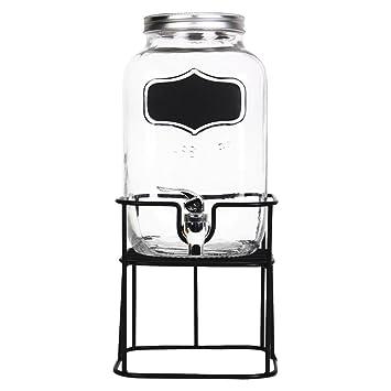 Helio Ferretti Mason HF, Dispensador de Bebidas de Cristal, Soporte de Metal y Pizarra para Personalizar, 4 Litros (17x37.5x17 cm): Amazon.es: Hogar