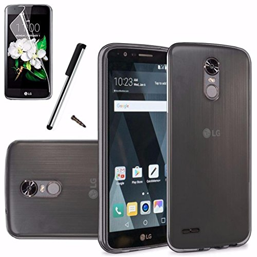 ) LS777 Case Soft Plastic TPU Gel Rubber Skin Candy Phone Cover+LCD Screen Protector+Stylus (Clear Smoke) ()