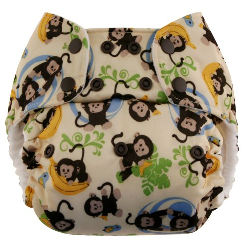 Blueberry One Size Simplex All in One Cloth Diapers, Made in USA (Monkeys)
