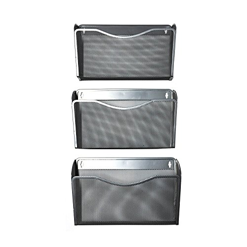 YIMU 3 Pack Mesh Hanging Wall Mount File Organizer Metal Mail Letter Pocket Holder for Home/Office, Silver (Sorter Vertical Plastic)