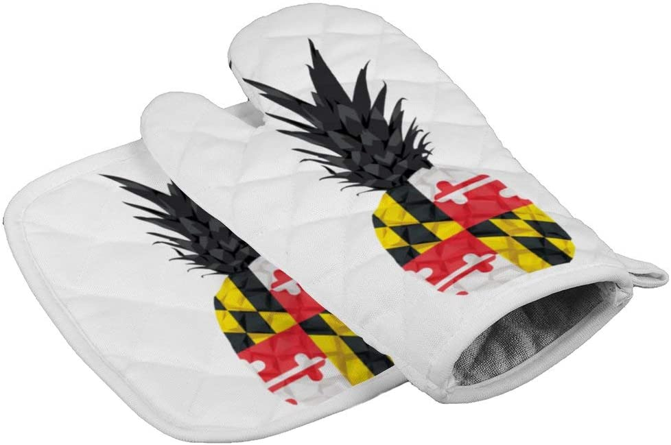 LijiahuaMitts Maryland Flag Pineapple Heat Resistant Oven Mitts and Pot Holders,Safe Kitchen Cooking Baking Grilling