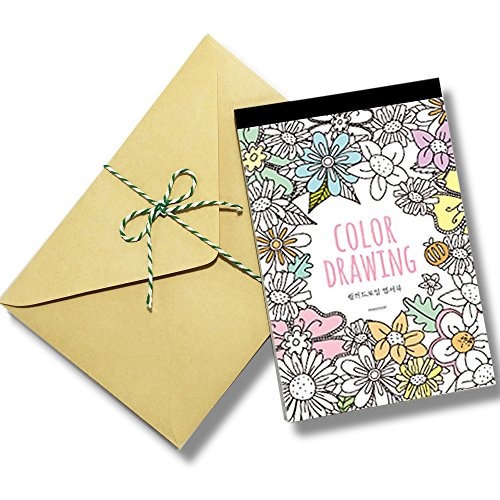 Stress Relieving Adult Coloring Books Color Therapy Stationery Cards Set, All Different 32 Coloring Postcards Including 10 Brown Kraft Envelopes Set, Greeting Note Cards and Envelopes (Adult Greeting Card)