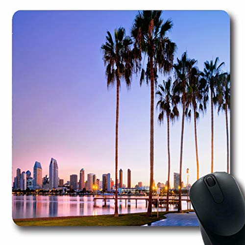 (Ahawoso Mousepads San Blue Diego Sunrise On Coronado Island Beach Parks California Skyline Downtown Scenery Design Oblong Shape 7.9 x 9.5 Inches Non-Slip Gaming Mouse Pad Rubber Oblong Mat)