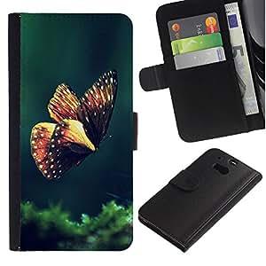 KingStore / Leather Etui en cuir / HTC One M8 / Mariposa de Primavera de la ma?ana Verde Naturaleza
