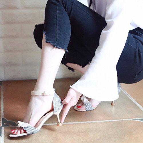 YMFIE Verano Sweet Butterfly vetado Toe Sandalias Lady'S Tacones y Zapatos de tacón. b