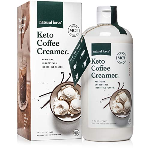 Keto Coffee Creamer with MCT Oil, 16oz Creamy Vanilla *Emulsified, No Blending Required* Unsweetened & Dairy Free, C8 & C10 MCTs from Organic Non-GMO Coconuts - NO Palm Oil, by Natural Force