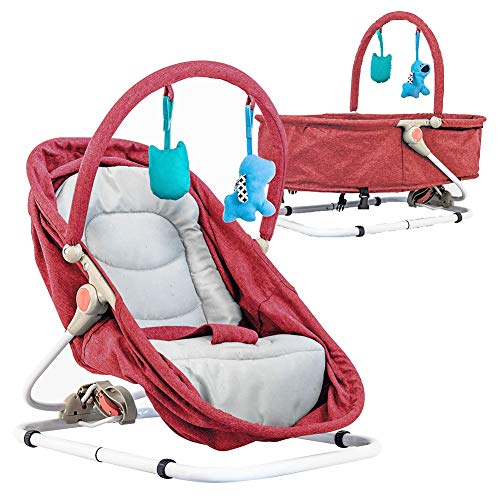 Baby Bassinet & Bouncer (Red) Travel Bassinet, Rocker Bouncer with Two Modes of Use, Newborn Portable Baby Bassinet.