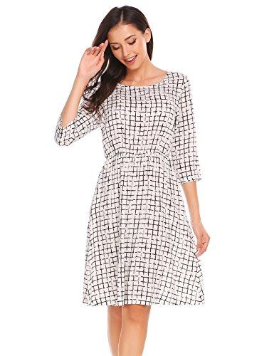 ... Meaneor Damen Elegant Swing Rundhals Knielang A Linie Kleid Elastische  Taille mit Nadelstreifen Zebramuster Kariertes Kleid ... 902a2dbdc4