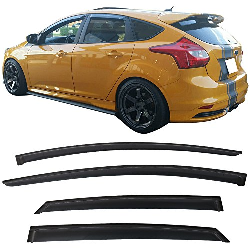 (Window Visors Fits 12-16 Ford Focus | Sun Rain Guard Vent Deflector Smoke Slim Style 4Pcs by IKON MOTORSPORTS | 2013 2014 2015)