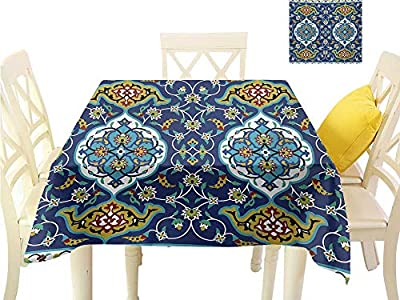 familytaste Easter tablecloths Moroccan,Authentic Oriental Motif with Vintage Byzantine Style Tile Effects Artwork,Mustard Royal Blue Square Polyester Tablecloth