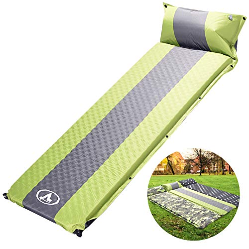 - NsDirect Camping Self Inflating Sleeping Pad with Pillow, Inflatable Foam Mattress, Sleeping Mat is Large, Compact, Lightweight (Green+Grey)