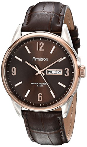 Armitron-Mens-205048BNTRBN-DayDate-Function-Brown-Croco-Grain-Leather-Strap-Watch