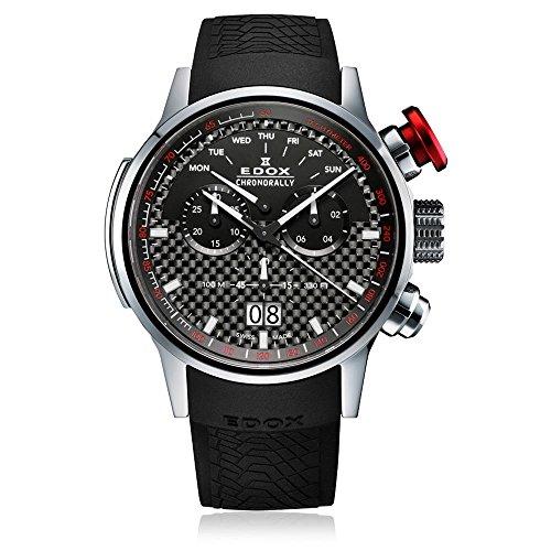 Edox Men's 38001 TIN NIN Chronorally Analog Display Swiss Quartz Black Watch by Edox