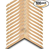 Wood Hangers (Pack of 100) – Wishbone Wooden Retail Hanger with Chrome Hook, No Bar, 17'', Natural Wood
