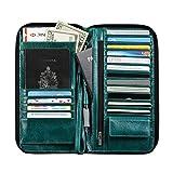 MAGIC TALE Genuine Oil Wax Leather Passport Cover Handbag Zipper-arround,Sea Green