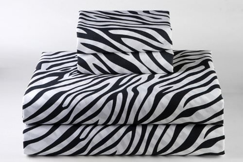 Crafts Linen Cotton Sheets 4-Piece Sheet Set for RV or Short Queen Size 60''X75'' Zebra Animal Print 100% Egyptian Cotton 600 Thread Count (16'' Drop) Bed sheets