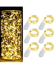 Holahoney 6PCS 7Feet Starry String Lights,Fairy Lights Battery Operated with 20 Micro LEDs On Copper Wire, Works for Wedding Centerpiece,Party,Table,Valentine,Christmas Decoration