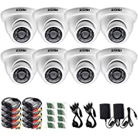 ZOSI 8 Pack 1/3 1000TVL 960H Security Surveillance CCTV Infrared Camera Kit System Had IR Cut 3.6mm Lens Outdoor Weatherproof