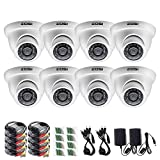 "ZOSI 8 Pack 1/3"" 1000TVL 960H Security Surveillance CCTV Infrared Camera Kit System Had IR Cut 3.6mm Lens Outdoor Weatherproof"