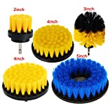 HIFROM Set of 5 Power Scrubber Cleaning Drill Brush Kit Medium Soft PP Brushes For Bathroom Surfaces Tub Sink Shower Toilet Tile and Grout