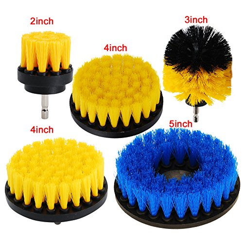 HIFROM Set of 5 Power Scrubber Cleaning Drill Brush Kit Medium Soft PP Brushes For Bathroom Surfaces Tub Sink Shower Toilet Tile and Grout by HIFROM
