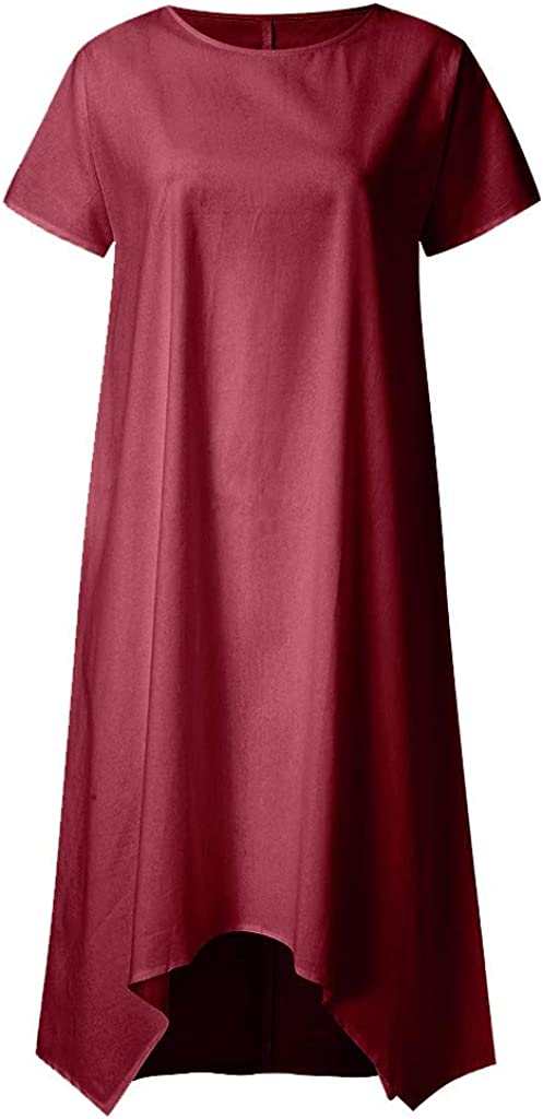 S-3XL Woman Casual Loose Dresses Plus Size Long Plain Color Dresses Retro O Neck Short Sleeved Beach Sundresses