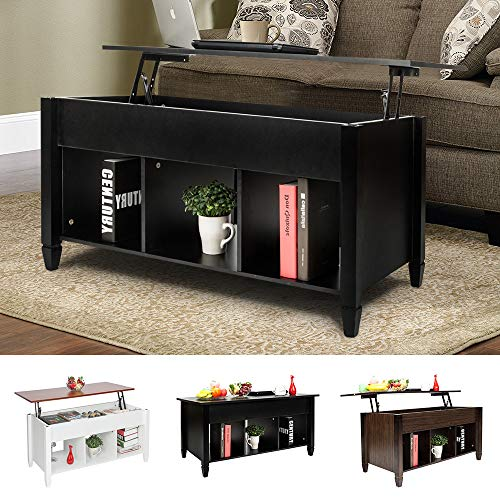 Goujxcy Lift-up Top Coffee Table,Wood & Metal End Table,Hidden Storage and Lift Tabletop Dining Table,Computer Table,Side Table,Living Room Furniture Tea Table E1 Board & Iron Modern Furniture,Black