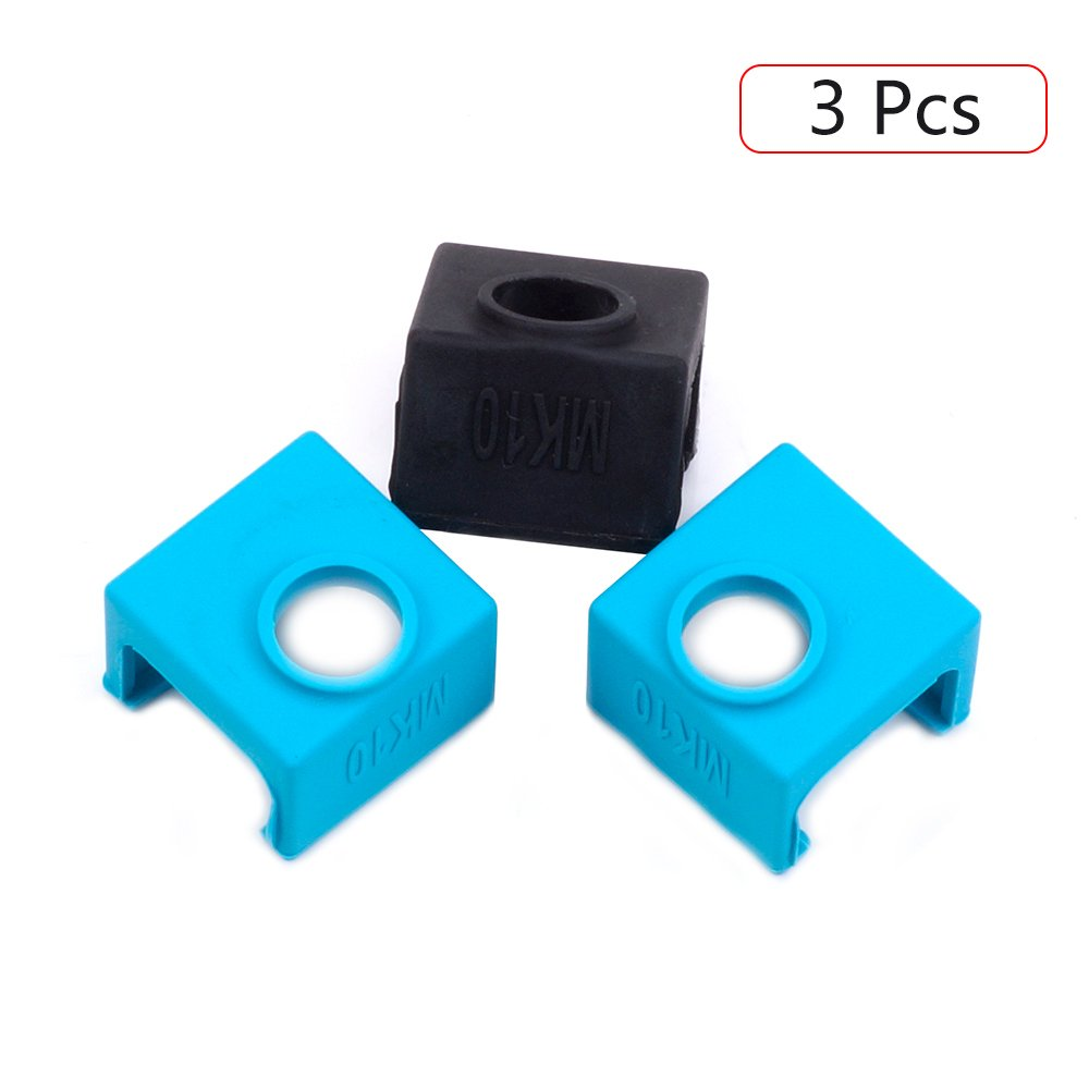 3D Printer MK10 Silicone Socks, FYSETC 3D Printer Parts Heater Block Silicone Cover Thermal Protection Silicone Sock for Wanhao i3 Makerbot Mk10 Style Extruders - 3 Pack, Blue+Black