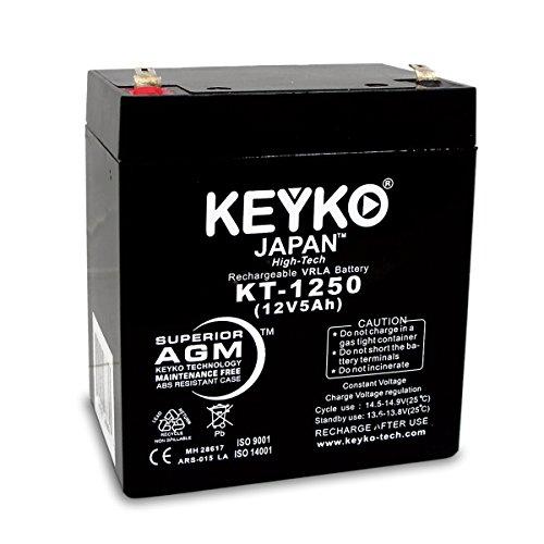 KEYKO Genuine KT-1250 12V 5Ah Battery SLA Sealed Lead Acid/AGM Replacement - F1 Terminal by KEYKO