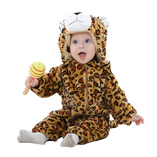 Leopard Costume Toddler (IDGIRL baby girls and boys' Flannel Cotton rompers Leopard-100CM Leopard 19-24 Months)