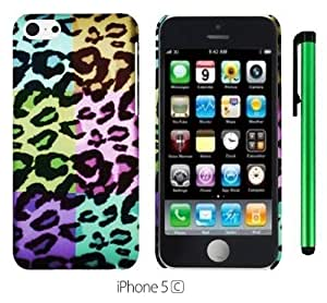 MMZ DIY PHONE CASEPartition Area Colorful Leopard Premium Design Protector Hard Cover Case for APPLE iphone 6 4.7 inch (For the Colorful) + 1 of New Metal Stylus Touch Screen Pen
