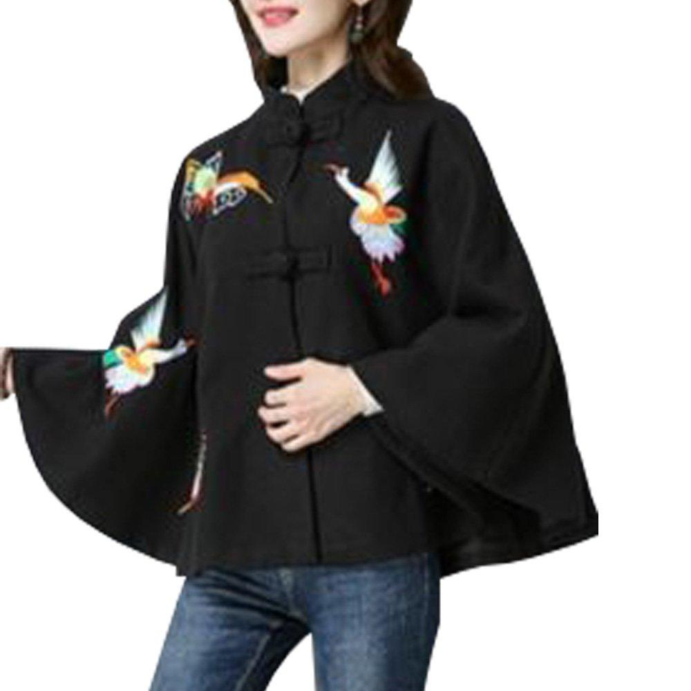 Women Cloak Cape Jackets Retro Coat Chinese Embroidery Shawl Poncho Loose Vintage