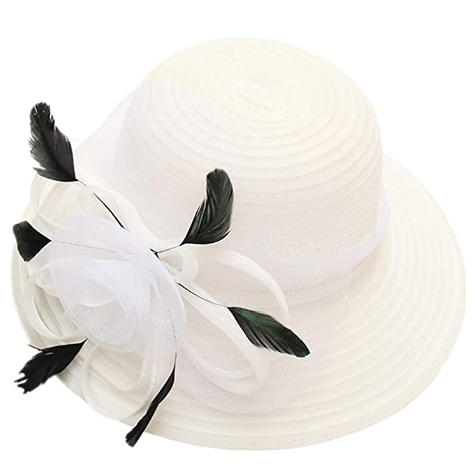 Tea Party Hats – Victorian to 1950s Women Church Derby Hats Organza Wide Floral Brim Flat Hat Ladies Wedding Dress Party Occasion Cap $14.59 AT vintagedancer.com
