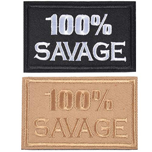 2 Pieces 100% Savage Military Tactical Patches, Backpack Armband Embroidery Decorative Patch