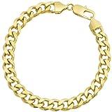 18k Gold Plated Mens Cuban Link Bracelet Flat Edge Design + Gift Bag