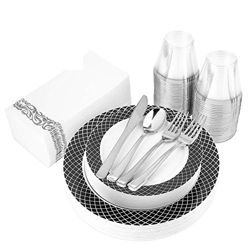 200 Piece Disposable Dinnerware Set Heavy Duty Plastic Plates, Cups, Cutlery & Napkins: 25 Dinner Plates, 25 Dessert Plates, 25 Cups, 50 Forks, 25 Spoons, 25 Knives & 25 Guest Towels (Black & White)