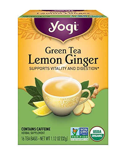 Yogi Tea, Lemon Ginger Green Tea, 16 Count (Pack of 6), Packaging May Vary
