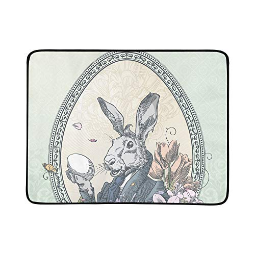 - ZXWXNLA Vintage Easter Postcard with Rabbit with Little C Pattern Portable and Foldable Blanket Mat 60x78 Inch Handy Mat for Camping Picnic Beach Indoor Outdoor Travel