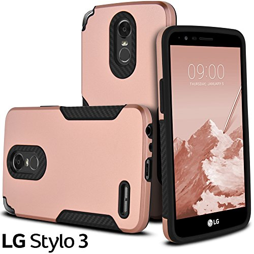 LG Stylo 3 Case, LG Stylus 3 Case, LG Stylo 3 Plus Case, Celljoy [Carbon Grip Armor] Carbon Fiber Design Grip [Shockproof] Slim Hybrid Bumper [[Impact Resistant]] Metallic Shell Case (Rose Gold) (Replacement Stylus Rs)