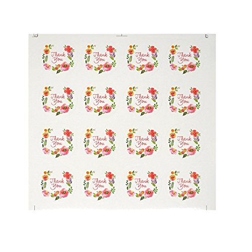 Honbay 20 Sheets 320pcs Thank You Floral Watercolor Round Sticker Labels Self-Adhesive Seal Sticker Decorative Sticker for Wedding, Scrapbooking, Cookies Packaging, Gift Wrap, Envelopes Seal, etc (Florals Scrapbooking)