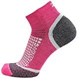 Zensah Wool Running Socks - Comfortable Grit Ankle Athletic Sport Sock - Moisture Wicking, Anti-Blister,Hot Pink ,Small
