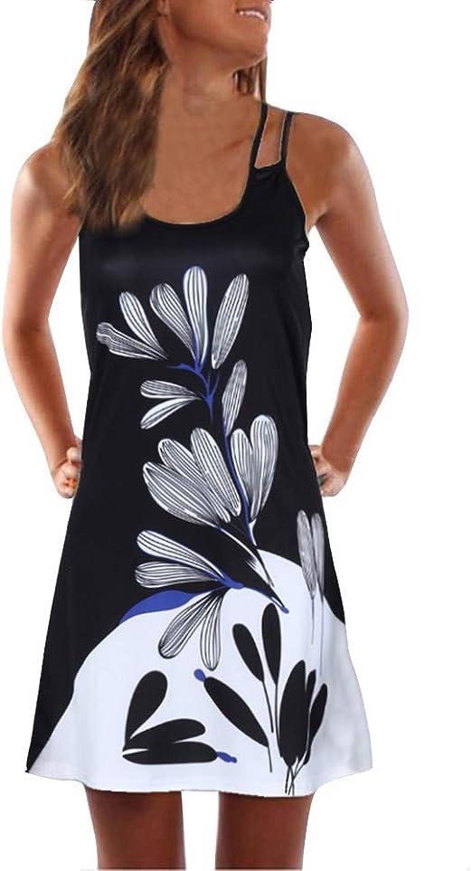 Proumy Camiseta Negra Floral Mujer Chaleco Estampado de Flores Blusa sin Mangas Camisa de Tiras Vestido Larga Tops Elástico de Talla Grande Traje Cómodo de Cuello Redondo Nuevo 2019: Amazon.es: Ropa y