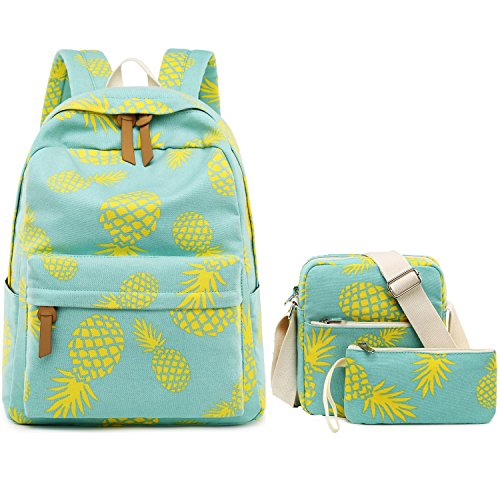 Teen Girls Backpack School Book Bag Set with Shoulder Bag and Pencil Case for Kids and Children (Pineapple Mint Green-A002) ()