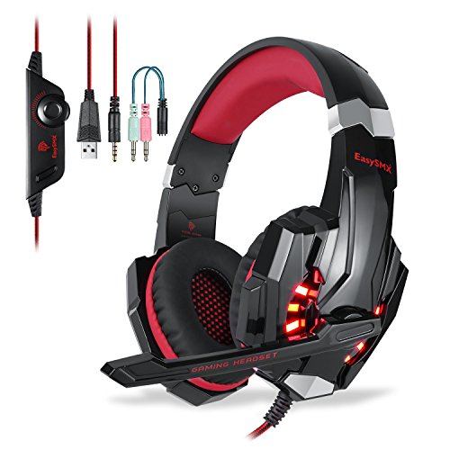EasySMX G9000 Stereo Gaming Headset for PS4 New Xbox One with Mic LED Lighting Noise Cancellation and In-line Controller Compatible with Laptop, PC, Mac, Computer, Smartphones, Nintendo Switch Games